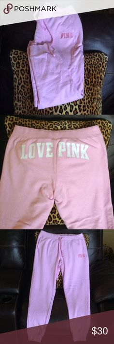 "PINK Joggers Can't go wrong with PINK! These are so cute! An amazing baby pink color.  29"" inseam. Worn once, washed with Woolite. PINK Victoria's Secret Pants Track Pants & Joggers"