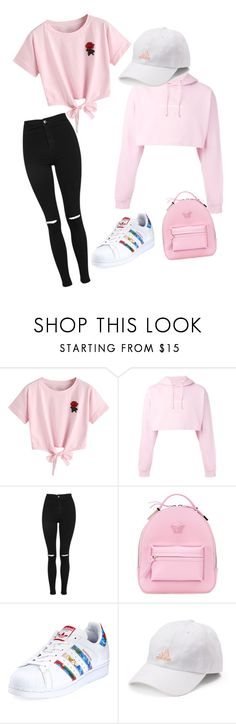 """Nice"" by jadethegeek on Polyvore featuring WithChic, F.A.M.T., Topshop, Versace and adidas"
