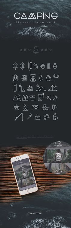 Camping free line icon set consist of 34 vector icons on camping and travelling topic. These icons will look good as logo icon App Design, Icon Design, Logo Design, Graphic Design, Free Design, Camping Icons, Camping Hacks, Camping List, Camping Theme