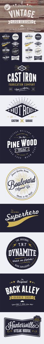 Vintage Graphic Design 8 Free Customizable Vector Vintage Style Logo Designs, via Spoon Graphics - One of my popular freebies over the past year was the collection of 6 free customisable retro/vintage logos Vintage Logos, Vintage Logo Design, Vintage Graphic, Vintage Branding, Typography Letters, Typography Design, Branding Design, Webdesign Inspiration, Graphic Design Inspiration