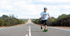 On the open road: Dave used a skateboard to get from Perth to Brisbane. His trip was inspired when he started riding a skateboard around his town and saw the world in a completely different way Perth, Brisbane, World Records, Rowing, Skateboard, Adventure, Inspired, Skate Board, Fairytail