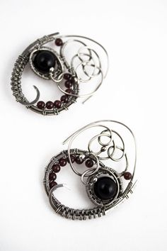 Beshaba - handmade wire wrapped fine silver abstract earings with black onyx and deep red garnet beads, wire wrapping, wire wrap