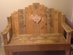 Wedding bench instead of guest book.... LOVE this idea.... now someone please make me a bench! So perfect for our rustic theme :)