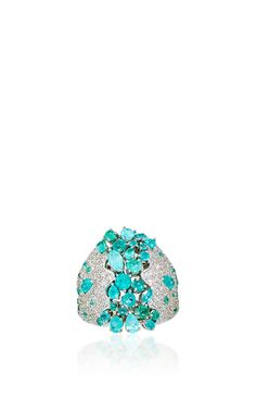 Delicatedly embellished with white diamonds, this scintillating ring features glistening paraiba tourmalines throughout an intricate curvilinear design. High Jewelry, Jewelry Art, Jewelry Rings, Vintage Jewelry, Jewelry Accessories, Jewelry Design, Unique Jewelry, Pierre Turquoise, The Bling Ring
