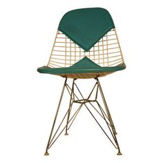Eames Wire Chair With Teal Bikini Pad and Eiffel Tower Base