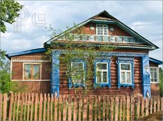 Picture of Colorized wooden house in russian country