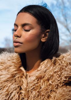 photoshoot fashion Model flare editorial Gucci Fur Coat Flare Magazine septum ring A Peace Treaty flare