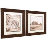 Bring a timeless quality to your décor by featuring the StyleCraft Farm and Park Glass Framed Wall Art - Set of 2 . This sepia-toned pair of prints.