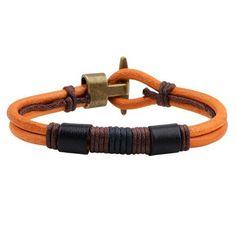 bangle bracelet handmade genuine leather cuff punk style jewelry