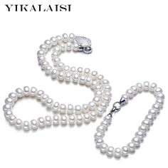 Hot Deals $18.00, Buy YIKALAISI 2017 New Natural Pearl jewelry set for women 8-9mm freshwater pearl Necklace Bracelet for weddings gift