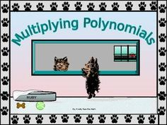 The following power point lesson covers examples and instructions over Multiplying Polynomials. * Students begin by applying the distributive property to find the product of a pair of binomials. * Students learn to apply FOIL in multiplying pairs of binomials, and they understand the meaning of each letter