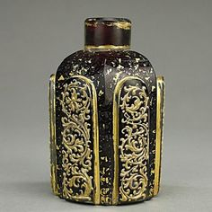 BOHEMIAN RUBY RED WITH GILT PAINTED PERFUME BOTTLE : Lot 141