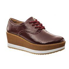 add0050b03 Sapato Oxford Usaflex Couro Verniz Vinho X7408