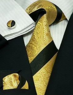 Black and Gold Stripe Paisley Silk Tie Set - Toramon Necktie Company Sharp Dressed Man, Well Dressed Men, Style Masculin, Mens Fur, Dapper Gentleman, Tie Styles, Wedding Ties, Tie Set, Gold Stripes