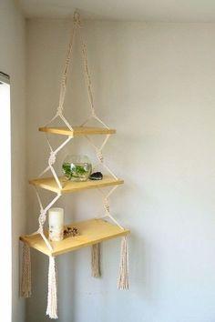 Indoor Macrame Plant Hanger DIY Idea Collections wood shelves How to DIY Wood Shelf Plant Hanger? Diy Wood Shelves, Diy Hanging Shelves, Plant Shelves, Hanging Pots, Macrame Design, Macrame Art, Macrame Projects, Macrame Knots, Macrame Plant Holder