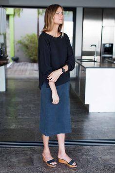 Midi Wrap Skirt - Washed Slate   Emerson Fry