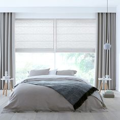 White and grey curtains Ceiling Curtains, Drapes And Blinds, Bedroom Blinds, Home Curtains, House Blinds, Modern Curtains, Custom Curtains, Home Bedroom, Bedroom Decor