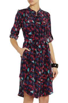 Katrina printed silk crepe de chine shirt dress