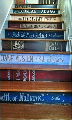 A book nerds staircase. Oh my gosh. I need a staircase in my future library so I can do this.