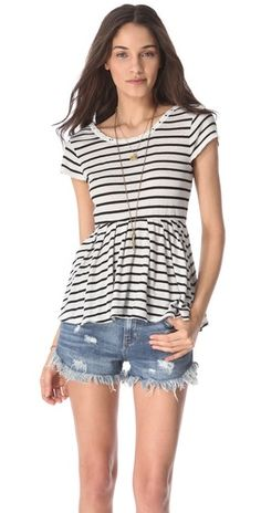 0fbaf44c010c Caroline Hulse Style · just add colored skinnies to this striped peplum top  What Should I Wear Today