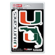 Miami Hurricanes Decal Die Cut Team 3 Pack