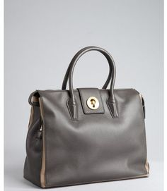 YSL Grey Leather Muse Two Cabas Tote Bag