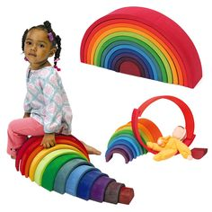 Amazon.com: Grimm's Extra Large 12-Piece Rainbow Stacker - Wooden Nesting Puzzle/Creative Building Blocks: Toys & Games
