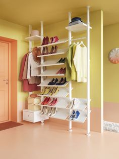 Open Wardrobe Systems - Open Storage Systems - Floor to Ceiling Storage - IKEA Ikea Shoe Storage, Bedroom Storage, Small Storage, Clothes Storage, Elvarli Ikea, Algot Ikea, Ikea 2017 Catalog, Organizar Closets, Shoe Shelves