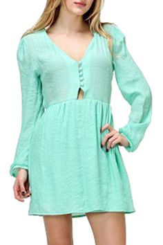 HONEY PUNCH - Long Sleeve Button Down Dress in Mint