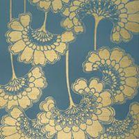 Gold Japanese Flora Wallpaper