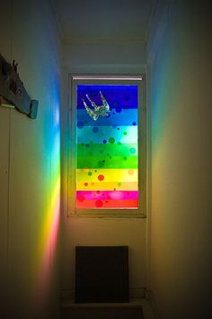 Easy idea for a window shade to an unimportant window-use paint for the shade! Or us thin plastic window cling and paint on that. Love Rainbow, Taste The Rainbow, Over The Rainbow, Rainbow Colors, Rainbow Light, World Of Color, Color Of Life, Pop Art Bilder, Rainbow Connection