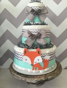 Woodland Diaper Cakes in Mint, Grey and White, Woodland Baby Shower Centerpieces by AllDiaperCakes