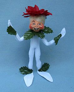 "item 500509 - Annalee 9"" Wannabe Poinsettia Elf"