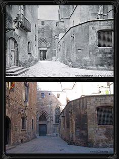 Carrer de la Pietat, darrera de la Catedral de Barcelona. Foto antiga 1890, foto nova 2011. Observeu les finestres del Palau de la Generalitat de Catalunya, costat esquerra.