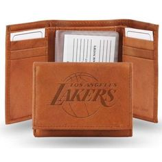 Los Angeles Lakers Official NBA One Size Leather Trifold Wallet by Rico Industries, Brown