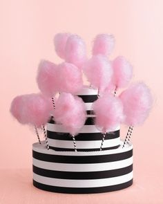 Cotton Candy Stand Perfect Wedding Color Palette Black White and Pink Rock Candy Cakes, Cotton Candy Cakes, Cotton Candy Party, Party Candy, Barbie Birthday, Barbie Party, Birthday Cake, Barbie Cake, 5th Birthday