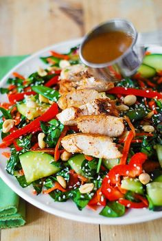 Crunchy Asian Salad with Chicken and Sesame Peanut Dressing
