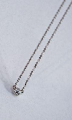 tiny modern diamond necklace by J