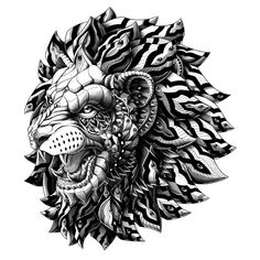 Hand draw illustration of an ornately decorated roaring lion head.