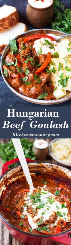 Beef Goulash - a thick and hearty, paprika spiced stew.Hungarian Beef Goulash - a thick and hearty, paprika spiced stew. Slow Cooker Recipes, Meat Recipes, Dinner Recipes, Cooking Recipes, Slow Cooking, Recipies, Cooking Tips, Holiday Recipes, Hungarian Recipes