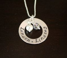 Personalized hand stamped metal jewelry by trbowman on Etsy, $42.00. I want this!