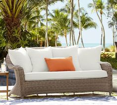 Torrey All-Weather Wicker Roll-Arm Sofa - Natural