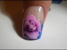 ▶ rosa con one stroke uñas - one stroke rose nails - YouTube