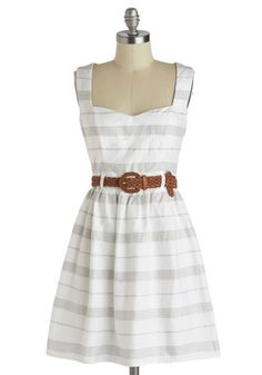 At the Heart of It Dress - White, Grey, Stripes, Cutout, Belted, Casual, Tank top (2 thick straps), Sweetheart, Daytime Party, A-line