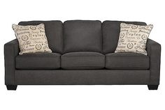 """Alyenya Charcoal Sofa...38.5"""" H; 37.5""""W; 84""""L.  Also comes in a lighter gray...$500"""