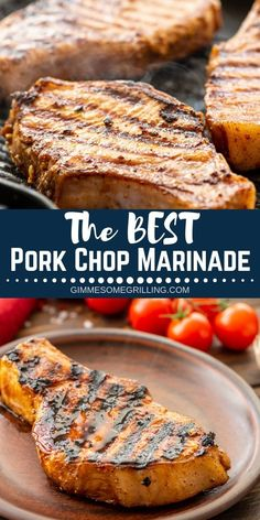This is the BEST Pork Chops Marinade! We love that it's so quick and easy. Plus, you probably have all the ingredients already. It makes your pork chops extra juicy, full of flavor and delicious. You can use it if you are grilling your pork outside or if Best Pork Chop Marinade, Marinate For Pork Chops, Pork Chip Marinade, Pork Chops On Grill, Traeger Pork Chops, Brine For Pork Chops, Barbecue Pork Chops, Cooking Pork Chops, Meat Marinade