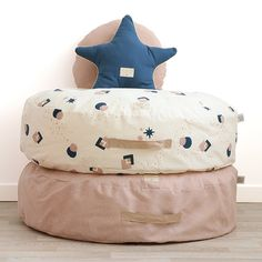 Nobodinoz zitzak Cookie Bean Bag - Elements - White Bubble-Misty Pink #newcollection #beanbag #nobodinoz#kidsroom #littlethingz2