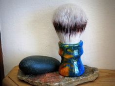 Shaving Brush - Blue and Gold Resin Lathe-Turned Handle with Synthetic Bristles by LoveYourShave on Etsy