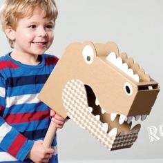 love these: little crocodile or dinosaur head made of cardboard by flatout frankie