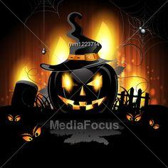 Halloween background with cemetery and pumpkin Stock Photo #halloween #halloweenimages